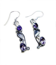 Amethyst jewelry 925 Sterling Silver elegant genuine Purple Earring gift UK - $19.47