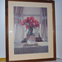 Framed Under Glass Photograph of Rust Chrysanthemums in Jar by Stefanich... - $17.95