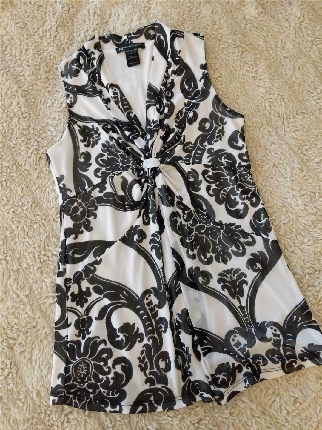 Primary image for INC INTERNATIONAL CONCEPTS BLACK WHITE SLEEVELESS V NECK CHIFFON TOP LADIES SZ S