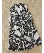 INC INTERNATIONAL CONCEPTS BLACK WHITE SLEEVELESS V NECK CHIFFON TOP LAD... - $9.90