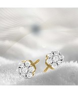 10K Yellow Gold 3/4 CT Natural Diamond 7 stone stud Earring for women I1... - $524.23