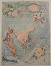 1947 VAN RAALTE Ad STOCKINGS Slip GLOVES Bra UNDIES Artwork FAIRIES or P... - $9.99