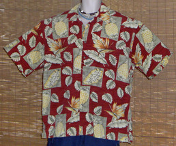 Pierre Cardin Red Green Yellow Bird of Paradise Pineapples Leaves Size XL - $18.95