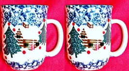 2 Coffe Mugs Tienshan Cabin In The Snow Spongeware Holiday Pattern - $6.00