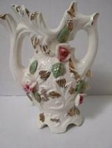 Vintage Porcelain Urn Pitcher Vase Pink With Pink Roses Gold Trim - $12.08