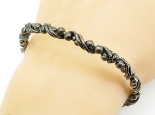 925 Sterling Silver - Vintage Dark Tone Ball Bead Twist Bangle Bracelet - B6113