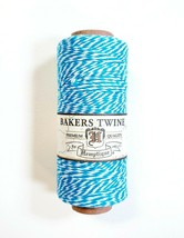 Hemptique 100% Cotton Baker's Twine Aqua Blue White 2-Ply 1mm 410 ft 125... - $8.00