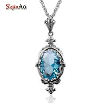 Szjinao Classic Oval Aquamarine Vintage 925 Sterling Silver Pendant For ... - $42.99