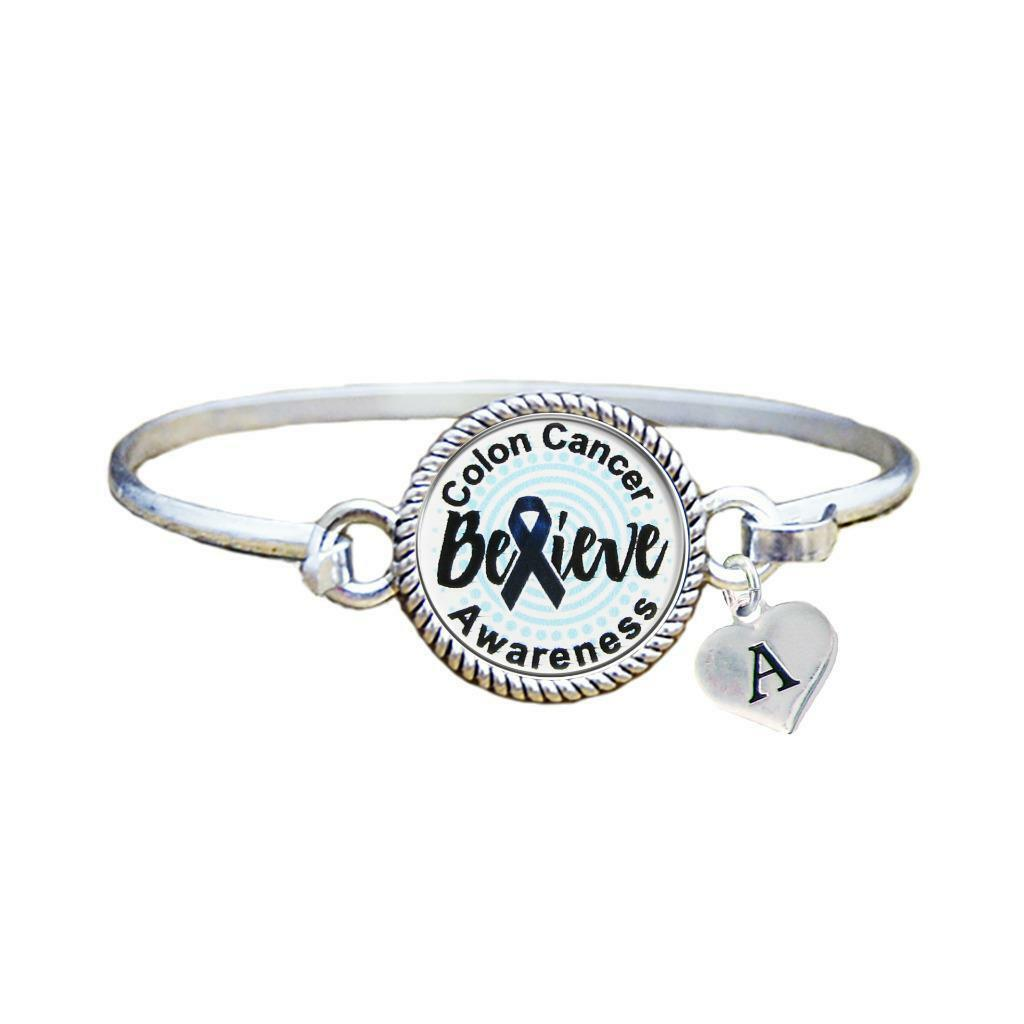 Primary image for Custom Colon Cancer Awareness Believe Silver Bracelet Jewelry Choose Initial