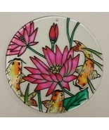 Painted Glass Sun Catcher Waterlily Koi Qty 6 Window Hang 2 Holes CL33 - $30.49