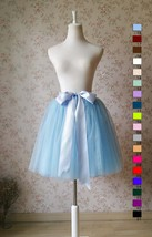Light Blue Tulle Midi Skirt Ballerina Tulle Skirt Knee Length image 2