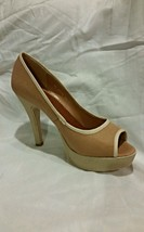 "Gabriella Rocha Grenda Nude Linen 4"" Heels Ladies Shoes Party Wedding Ca... - $18.52"