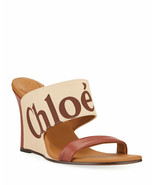 Chloe Verena Logo Wedge Slide Sandals Size 37.5 Run Small MSRP: $630.00 - $445.50