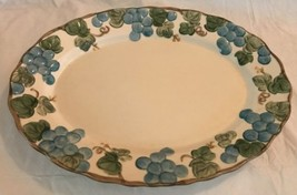 "Poppytrail By Metlox Sculptured Grape 14"" Oval Platter Usa Unused Excellent - $29.69"