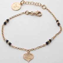 """925 Sterling Rose Silver """"Le Favole"""" Bracelet Heart Pendant, Watch, Black Spinel - $58.41"""
