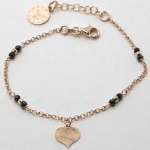 "925 STERLING ROSE SILVER ""LE FAVOLE"" BRACELET HEART PENDANT, WATCH, BLACK SPINEL image 1"