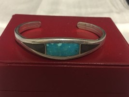 Vintage Native American Sterling Old Pawn Cuff Bracelet Turquoise Onyx - $59.22