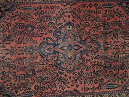 Sarouk Persian Wool Hand-Knotted Rug 5' x 7' Salmon Red Vintage Antique Red Rug image 6