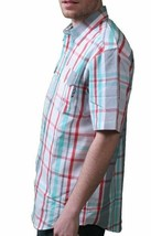 DGK White Grey Red Green plaid Short Sleeve BBQ Woven Button Up Shirt NWT image 2