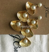 NWT Authentic J Crew Shell-and-pearl drop earrings BURNISHED GOLD & Dust Bag - $32.99