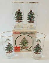 Spode Christmas Tree 14oz Highball Glasses 6 in Gold Rim Holly Tree Sant... - $34.60