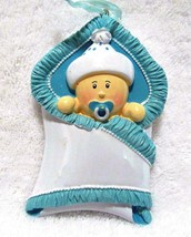 Baby Ornament Nursery Or Shower Party Decoration Boy In Blanket - $8.79