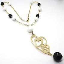 Collar Plata 925 , Amarillo, Ónix, Ágata Blanca, Corazón Doble, Colgante image 1