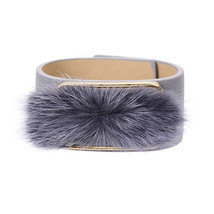 (gray) Pipitree Unique Fur Charms Cuff Bracelet Jewelry 6 Colors Adjusta... - $20.00