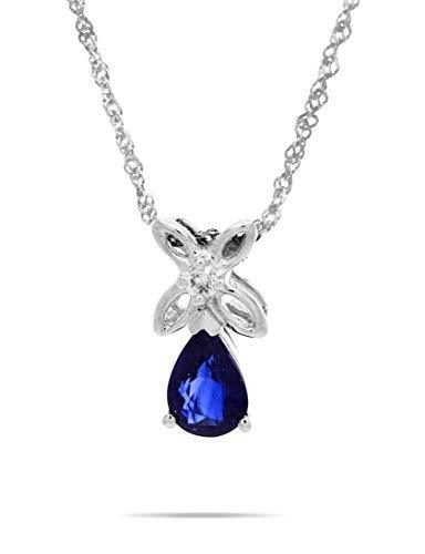 AFJewels 14 k White Gold Sapphire Pear Shaped Diamond Accent Pendant