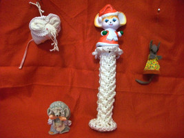 5 HANDMADE SEWN MOUSE CHRISTMAS TREE ORNAMENTS MICE BRAIDED CORD TOWER D... - $12.00