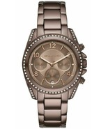 BRAND NEW MICHAEL KORS BLAIR MK6764 BROWN STEEL GLITZ CHRONO WOMEN'S WATCH - £163.67 GBP