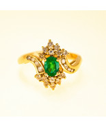 Vintage Emerald and Diamond Ring 0.50ct Yellow Gold UK Size M BHS - $1,094.32