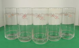 Corelle English Breakfast Glass Tumbler (S) Lot Of 5 Corning Pink Blue Lines - $27.67