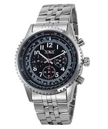 Gute Classic Multi-functional Steel Wristwatch Black Dial 6Hands Hand Wi... - $25.94