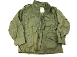 Vtg US ARMY Military Cold Weather FIELD Jacket Coat Hooded M-65 OG-107 S Sateen - $83.70