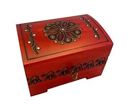 Red Decorative Wood Handmade Chest Floral Design Jewelry Keepsake Box with Lock  - $39.89