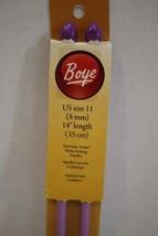 "Boye US 11 8mm 14"" Length 35cm Perfection Point plastic Knitting Needles New - $5.93"