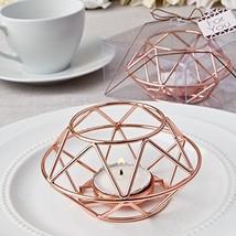 FavorOnline Geometric Design Rose Gold Metal Tealight Candle Holders, 12 - $49.30