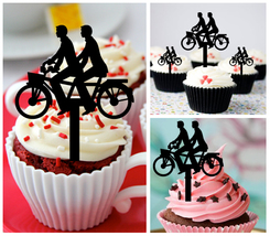 Gay,Wedding,Birthday,Cupcake topper,Romantic Bicycle Same Sex Gay : 10 pcs - $20.00