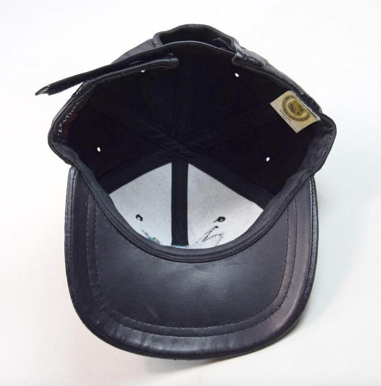 Vtg 90s NHL San Jose SHARKS Hockey Black Leather Baseball Cap Hat Adjustable OS