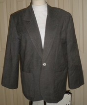 Charcoal-gray wool-blend fully-lined 1-button V-lapels 2-pocket career b... - $2.47