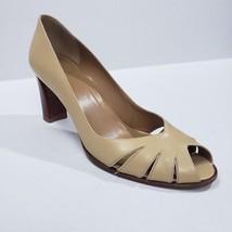 Stuart Weitzman Pump 8N Dress Career Professional Peep Toe Cut Out Beige Tan - $44.99