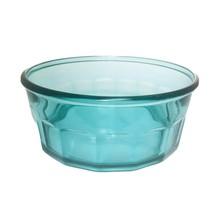 Arcoroc Glass Bowl Salad Serving Thumbprint Panel Teal Green Blue 2.75 Qt France - $14.84