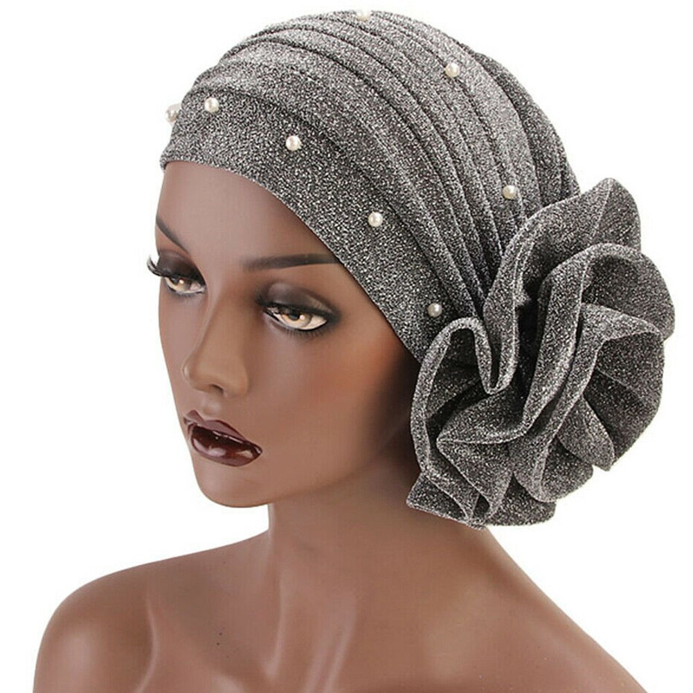 Primary image for Cap Solid Faux Pearl Decor Muslim Turban Stretch Hijab Soft Breathable Gift Big