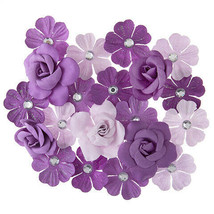 Darice Mulberry Floral Embellishment: Violet, 20 pieces w - $6.99