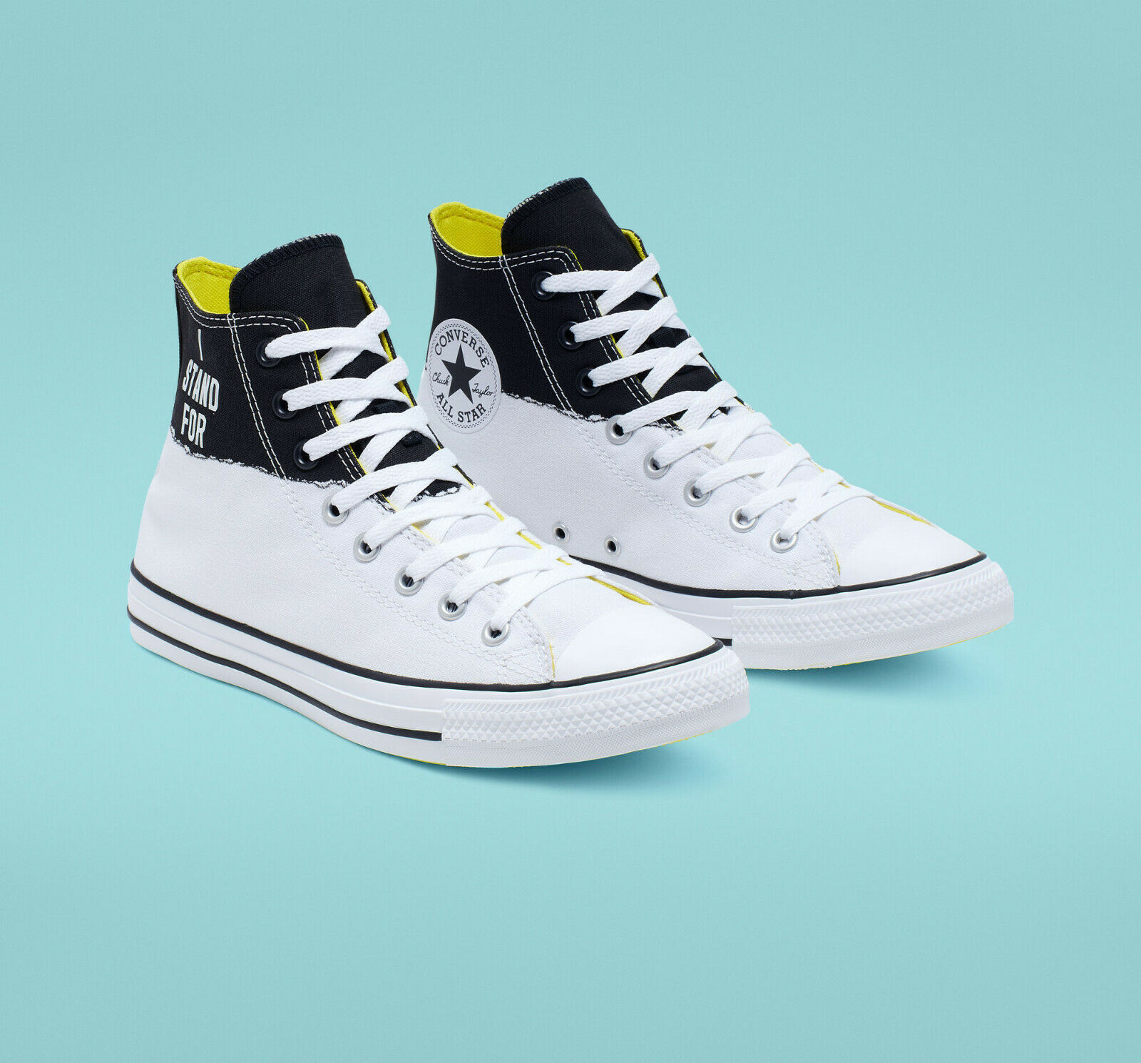Converse Mens CTAS Hi I Stand For Canvas 165709C White/Black/Fresh Yellow Sz 10