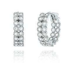 Sterling Silver Double Row InsideOutside Signity Bubble CZ Hoop Huggie Earrings - $39.59