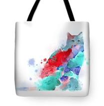 Tote bag All over print Cat 609 blue aqua turquoise pink red digital art... - $29.99+