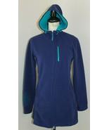 Athleta Size XS Swara Microfleece Long Fleece Hooded Jacket Purple Turqu... - $28.49