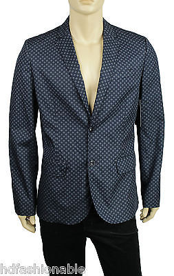 NEW MENS TOMMY HILFIGER PRINTED TWO BUTTONS NAVY SPORT COAT BLAZER JACKET L $299